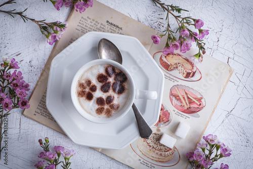 Foto op Canvas Chocolade Kaffee mit Milchschaum