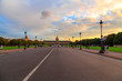 Beautiful sunset road that leads to Saint Louis cathedral in Paris, France. Amazing sunset time view.