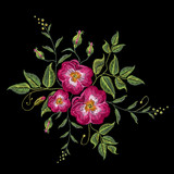 Embroidery wild rose, dogrose flowers. Classic style embroidery, beautiful dogrose vector - 143826528