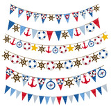 set of isolated nautical garland- vector illustration, eps