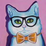 Original oil painting on canvas - Pop Art - Blue Cat in the Glasses