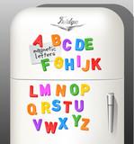 Child's plastic magnetic alphabet letters displayed on vintage refrigerator. Use as font or design elements. Vector illustration.