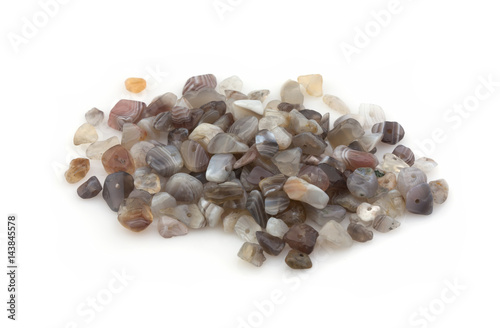 Natural stones of agate crumb for decoration on a white background Poster