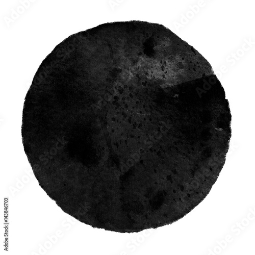 Watercolor black circle on white background. - 143846703