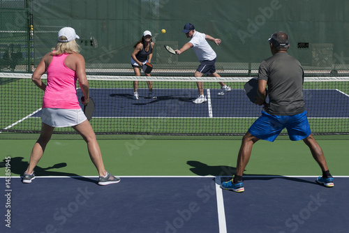 Fotobehang Tennis Pickleball Action - Mixed Doubles