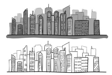 Cartoon Hand Drawing City with color. Vector on white background