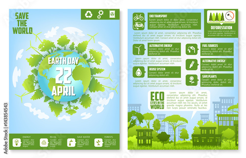 Earth Day brochure template with eco green city - 143854543