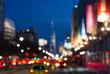 Blurred night lights of Manhattan street in New York City, NYC