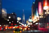 Blurred night lights of Manhattan street in New York City, NYC - 143857733