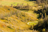 The view from the top on a Sunny day on the green hills and fields. The Siberian forest. Winding mountain road