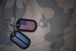Постер, плакат: army blank dog tag with flag of united states of america and botswana on the khaki texture background military concept