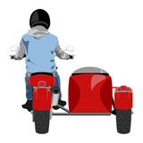 Fototapety Color classic sidecar motorcycle with rider wearing sleeveless jeans jacket, hoodie, black leather gloves and helmet back view isolated on white vector illustration