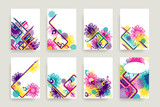 Set of bright creative retro style abstractions. Decorative designes for cover, brochure, card, poster, invitation, placard, flyer. Vector illustration.