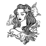 cute vector art card with little princess mermaid. Girl with starfish in hair and fish. linear tattoo illustration - 143874783