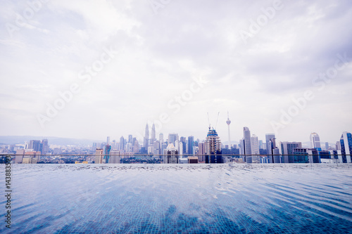 Swimming pool on roof top with beautiful city view Poster