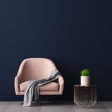 Fototapety Interior with an armchair and a little table on a background of an empty wall, 3D render, 3d illustration.