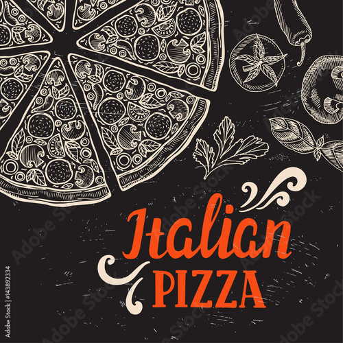 Pizza poster for restaurant and cafe. - 143892334