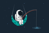 Spaceman sits on moon with a fishing rod