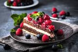 Fototapety Stück kuchen auf dunkelem hintergrund