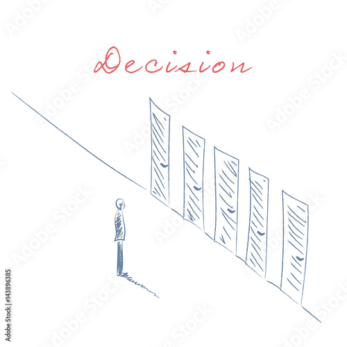 Business Decision Concept Illustration Businessman Standing In