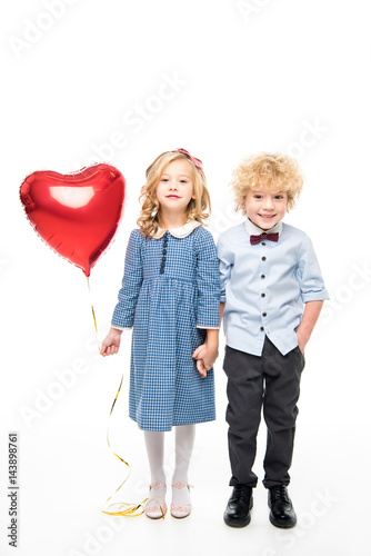 Poster Kids with heart shaped balloon