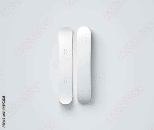 Blank White Snowboard Design Mockup Isolated Front And Back Side