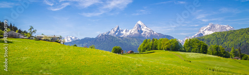 Idyllic landscape in the Alps with blooming meadows and farmhouse in summer - 143904199