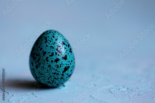 Blue Easter egg on a blue background Poster