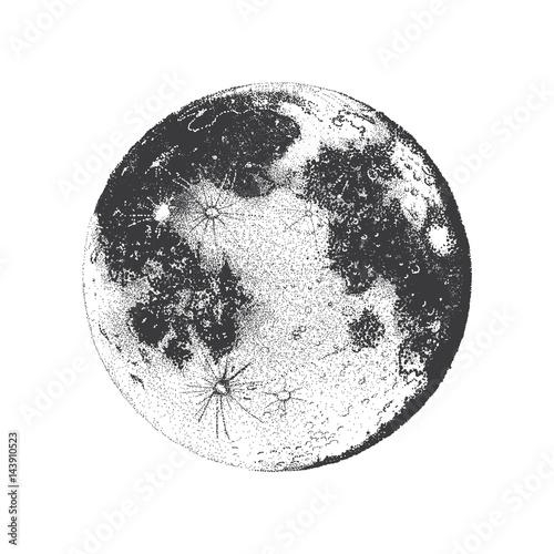 Vector illustration of Moon, dots