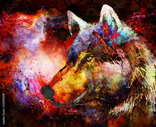 Wolf portrait, mighty cosmical wolf in cosmic space.