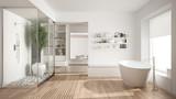 Minimalist white scandinavian bathroom with walk-in closet, classic scandinavian interior design - 143911344
