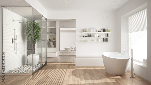 Minimalist white scandinavian bathroom with walk-in closet, classic scandinavian interior design