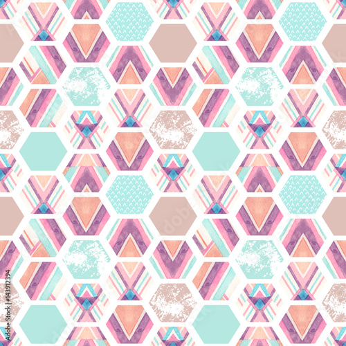 Watercolor hexagon seamless pattern with geometric ornamental elements - 143912394