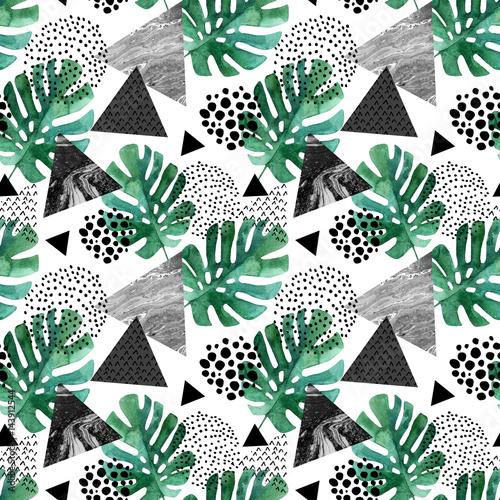 abstrakcjonistyczny-tlo-z-akwarela-tropikalnymi-liscmi-i-textured-trojbokami