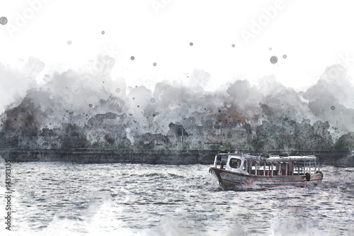 Long boat crossing in Bangkok, Long boat on watercolor paining background. - 143913135