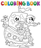 Coloring book pirate boat theme 1