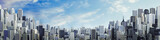 Day city panorama copy space / 3D illustration of daytime modern city under blue sky with copy space