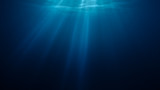 3D rendered illustration of sun light rays under water. - 143932362