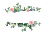 Watercolor green floral banner with silver dollar eucalyptus leaves and branches isolated on white background. - 143932568