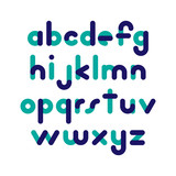 Two-color rounded flat font. Vector letters - 143932913
