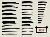 black marker brush stroke set