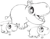 Doodle Hippo Vector Illustration Art