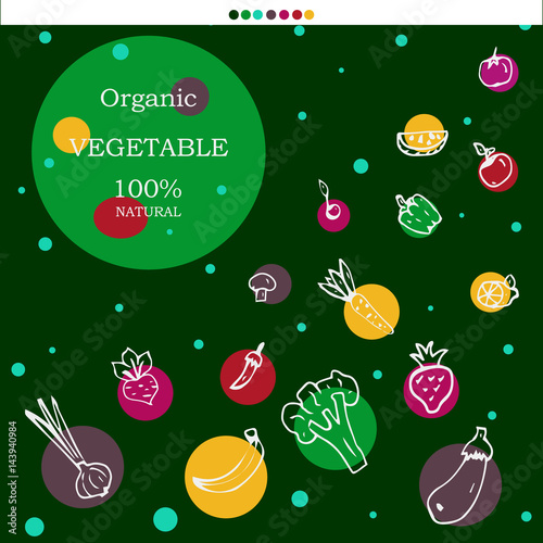 Vegetarian design. Vector card. Abstract image of vegetables and fruits. It can be used on websites, design of packages and brochures - 143940984