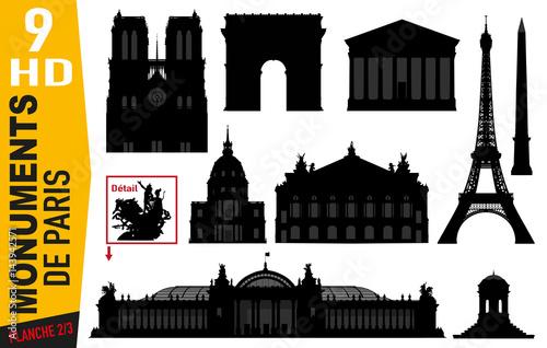 Poster Monuments de Paris - Paris - Célèbre - Tourisme - Tour Eiffel - Notre Dame - Arc de triomphe - Parisien