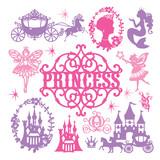 Vintage Paper Cut Princess Theme Set Wall Sticker
