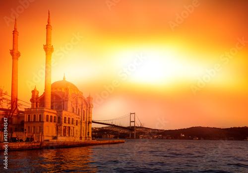 Ortakoy mosque and Bosphorus bridge, Istanbul, Turkey Poster