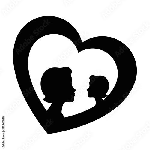 heart with mother silhouette