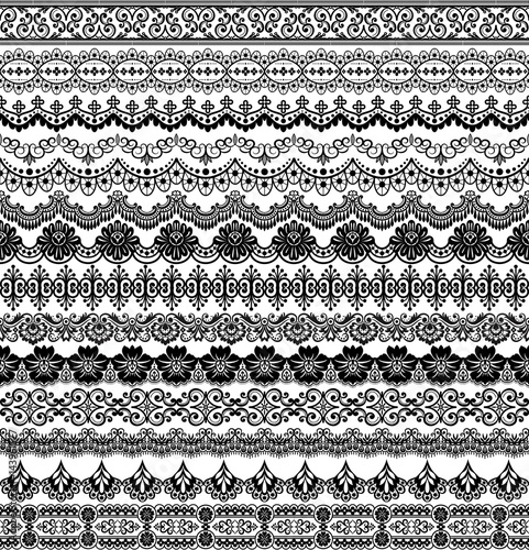 Vector set with baroque ornaments in Victorian style. Ornate element for design. - 143961577