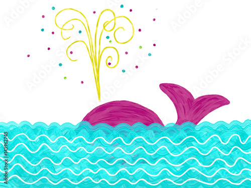 Hand drawn colorful pink whale like with firework in the ocean on the white background, isolated illustration painted by oil color, high quality © Iryna