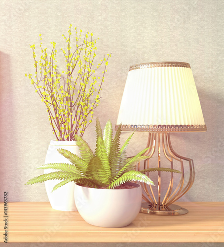 Interiors decoration. 3D Illustration